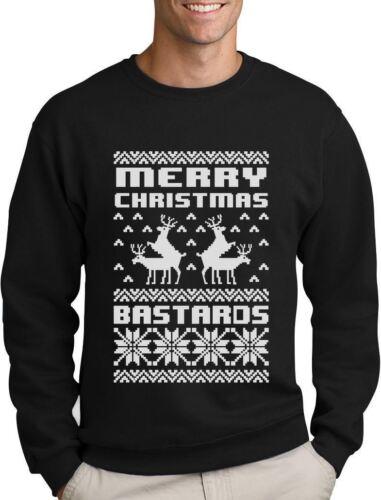 Merry Christmas Bastards Humping Reindeer Funny Ugly Christmas Sweatshirt Gift