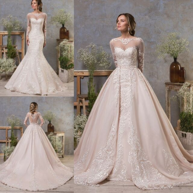 Wedding Dresses Detachable Train Long Sleeves Mermaid Bridal Ball ...