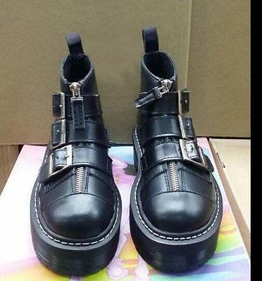 Womens British Punk Buckle Strap Zip Platform Creeper Lady Casual Motor Shoes Sz