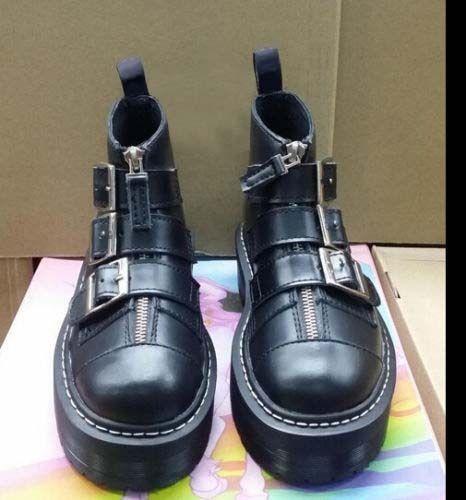 Womens British Punk Buckle Strap Zip Platform Creeper Lady Casual Motor Shoes Sz