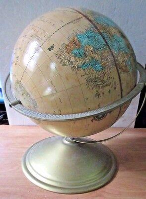 Vintage Cram S Imperial World Globe Metal Frame Antique