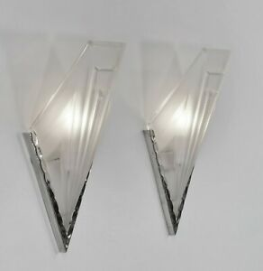 Degue A Pair Of 1930 French Art Deco Wall Sconces Lights Muller Era Ebay