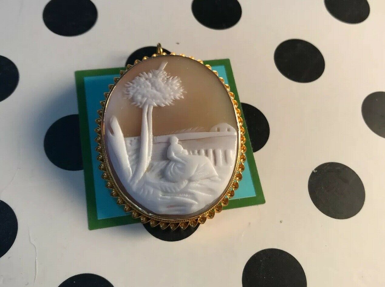 Vintage To Antique Italian 18K Carved Cameo Of Maiden By Sea Pendant Or Brooch
