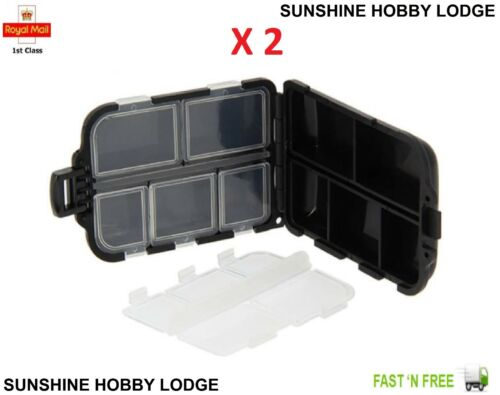 Tackle Boxes & Bags NGT Anglers Carp Coarse Fishing Tackle Bits Box 10 Small Compartments Black X 2 Sporting Goods