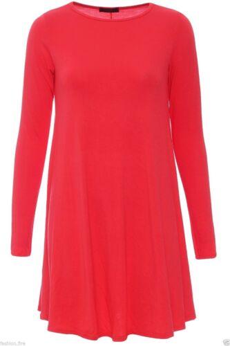 Femme Celeb inspiré Plain Swing Robe à manches longues Femmes Top Grandes Tailles