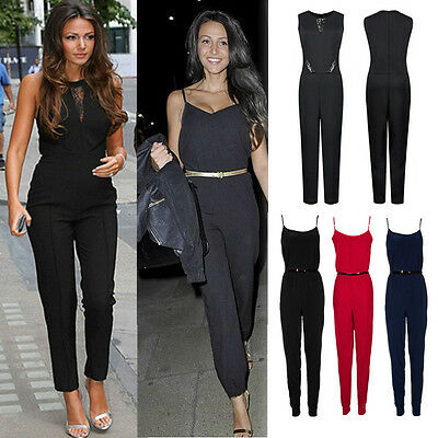 WOMENS NEW LADIES CELEBRITY STYLE All IN ONE TROUSER STRAPPY JUMPSUIT PLAYSUIT