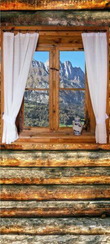 Türposter Alpes türtapete auto-adhésif des madriers Fenêtre Vue Montagne 1774tp