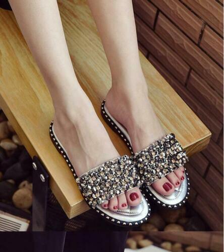 Womens Sequins Slippers Sandals Flats Summer Glitter Mules Beach Slides Shoes sz