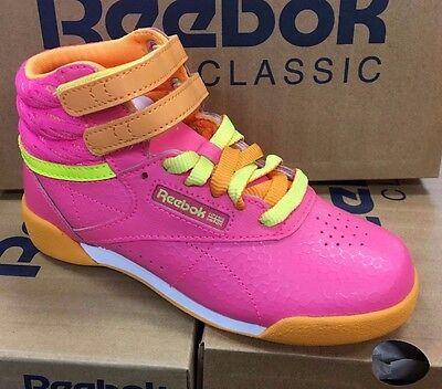 Reebok FS FreeStyle Jr Pink Orange Yellow Womens Big Girls Hi Shoes Sizes eBay  eBay
