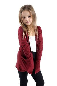 GIRLS KIDS BOYFRIEND CARDIGAN WITH POCKETS SCHOOL FASHION SHRUG  TOPS 2 TO 13