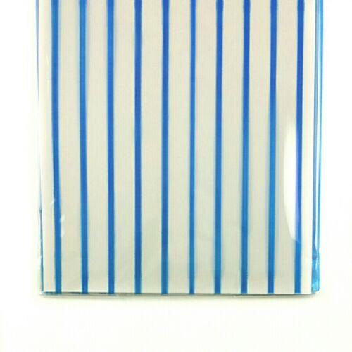 "50 Blue Stripe Print Cello Bags Cellophane Gusseted Large C4  11½/"" x 5/"" x 3"