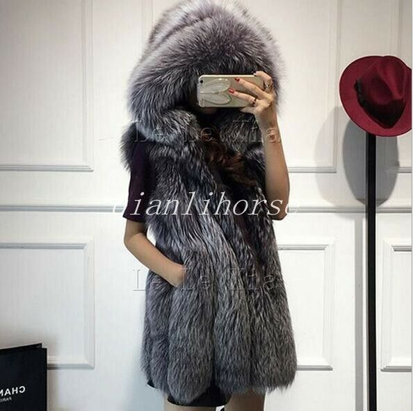 Faux Fur Vest Winter Warm Hooded Long waistcoat Sleeveless Coat Women Outwear