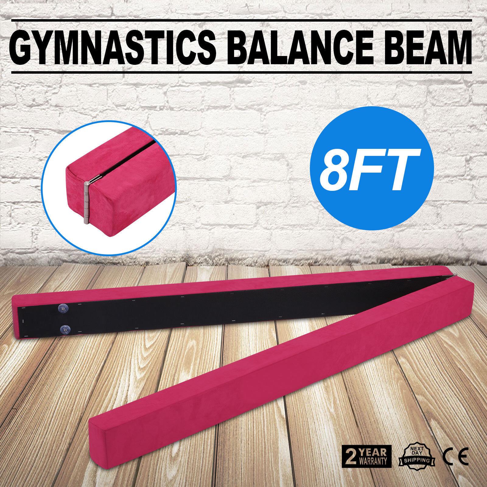 Pink Suede 8FT Gymnastics Folding Balance Beam 2.2M Hard  Wearing Folding Mat  save 50%-75%off