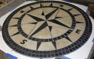 """96"""" Handcrafted Porcelain Tile Classic Compass Rose Mosaic Medallion Made in USA"""