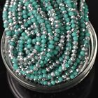 500pcs 4x3mm Rondelle Faceted Crystal Glass Loose Beads Silver&Opaque Turquoise