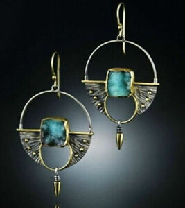 Turquoise-Vintage-925-Silver-Ear-Hook-Stud-Dangle-Drop-Earrings-Women-Jewelry