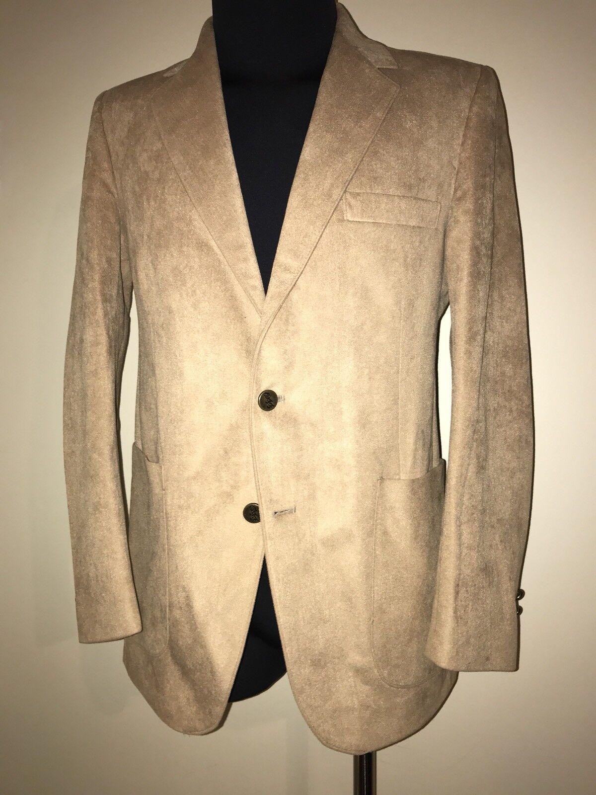 Farah WFF Designer Series Men's Ultrasuede Sport Coat Blazer Camel Size 39 R