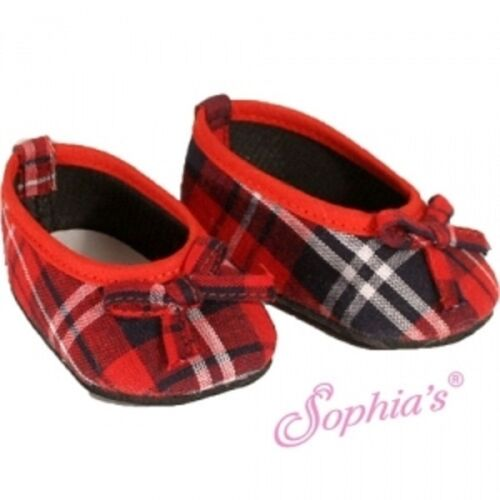 RED PLAID SLIP-ON SHOES feature Tied Toe Bow fits American Girl
