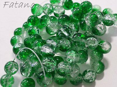 Glasperlen Crackle klar grün 10 mm 80 Stück Schmuck Basteln Perlen W53