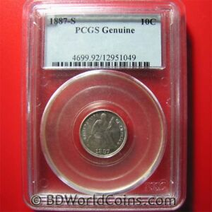1887-S-SILVER-DIME-SEATED-LIBERTY-10-CENTS-PCGS-GENUINE-COLLECTABLE-USA-COIN
