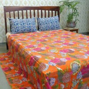 Orange-Cotton-Quilt-King-Single-Indian-Kantha-Bedspread-Throw-Blanket-Bedding