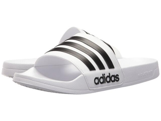 size 40 0e0c7 d73a3 Men Adidas NEO CF Adilette Slide Sandal AQ1702 WhiteBlack White Brand New
