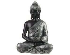 Large-29cm-Thai-Buddha-Tealight-Holder-Black-and-Silver-Budda-Ornament