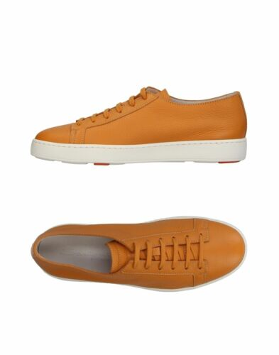 SANTONI Cognac Leather Sneakers Shoes Handmade in Italy