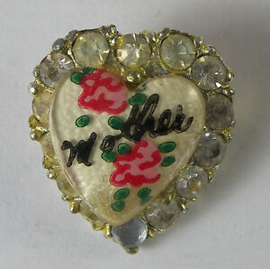 VINTAGE-HEART-PIN-with-RHINESTONES-amp-HAND-PAINTED-FLOWERS-amp-034-MOTHER-034-ON-ENAMEL