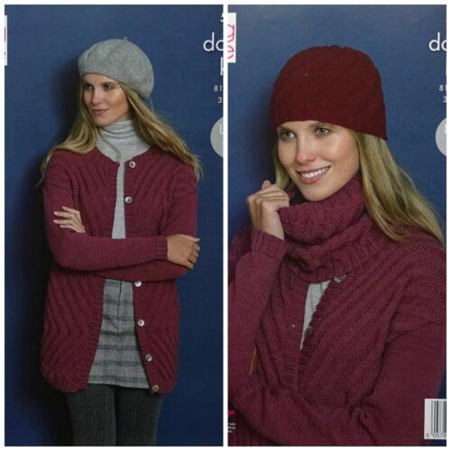 KNITTING PATTERN Ladies Round Neck Textured Jacket Hat /& Cowl DK King Cole 5393