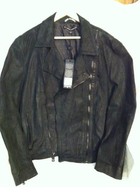 e45522ac4 True Religion Mens Russell Westbrook Double Zip Moto Leather Jacket Black  XXL