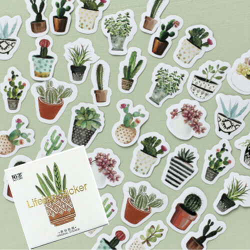 45 Pcs//Pack Cactus Succulents Paper Stickers Pot Green Plants Stick Label DIY