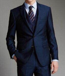 Men Blue Suits Designer Wedding Dinner Party Wear Tuxedo Suits Coat+Pant+Vest