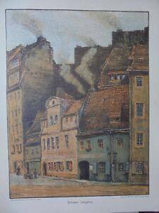 22192 Orig. Farblithographie Otto Westphal 1911 Dresden : Salzgasse 40x34cm