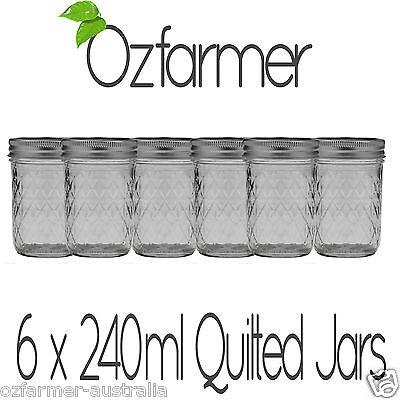 6 x Quilted 8oz Half Pint Ball Mason Canning Preserving Jam Honey Jar BPA Free