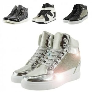 78a996c94173 Women's Black High Top Wedge Heels Trainers Glitter Sparkly Sneakers ...