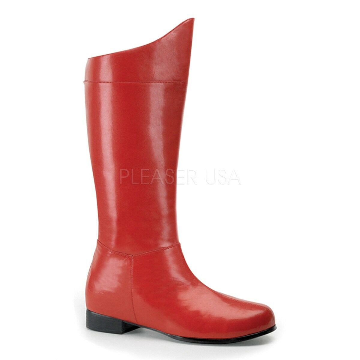 Funtasma 1  Heel Matte rot Super Hero Knee Stiefel Cosplay Halloween Mens 8-14