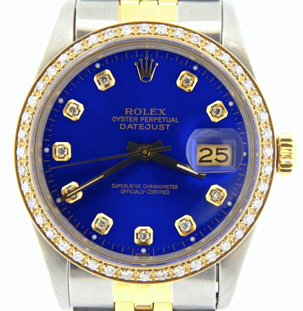 Men Rolex 2tone 18k Gold/Steel Datejust w/Submariner Blue Diamond Dial 1ct Bezel
