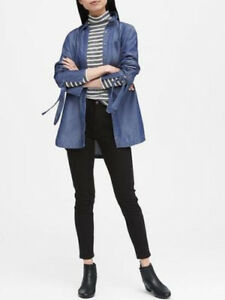 Banana-Republic-78-Women-Parker-Tunic-Fit-TENCEL-Chambray-Tie-Cuff-Shirt-Size-S