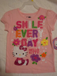 3624e7ba4fe66d TODDLER GIRLS HELLO KITTY BEACH BALL TANK TOP OR SMILE T-SHIRT SIZES 3T-5T  NWT