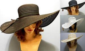 Striped Ribbon Floppy Bow Sun Summer Church Beach Wide Brim Cap Elegant Hat