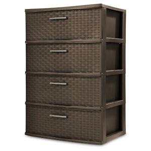 Storage Tower 4 Drawer Plastic Cabinet Clothes Organizer Box