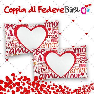dc636d9fd4 Coppia di federe love per cuscini personalizzate con nomi e Foto ...