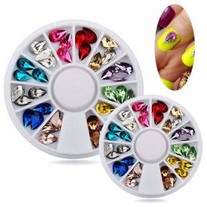 Acrylic-Decoration-Manicure-Wheel-Nail-Art-Rhinestones-Tips-3D-Glitters-New-U
