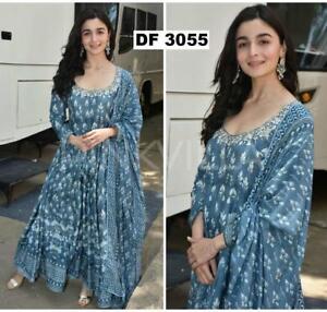 72588e6689 Image is loading BOLLYWOOD-Alia-Bhatt-indigo-Suit-Kurta-beautiful-Kurti-