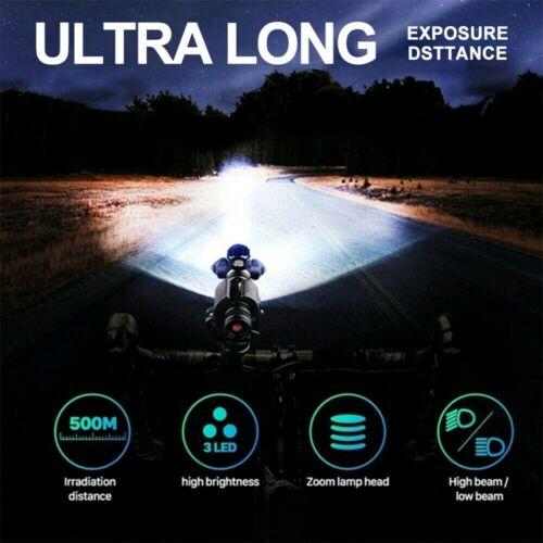 Waterproof USB Rechargeable Bike Front Headlight Tail Light Set Bicycle Light US