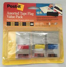 Post It Tape Flags Lot Of 3 Different Colors 50 Piece Each Genuine 3m Bonus