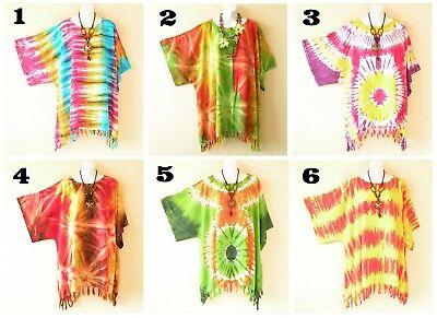 1X 2X 3X /& 4X Tie Dye Batik Gyspy Plus Kaftan Poncho Hippy Tunic Blouse Top