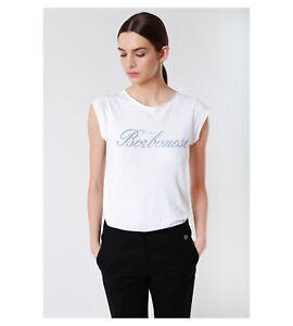 S Tg 6dq500 Borbonese Manica Blu Scritta T shirt Bianca Corta Rw67xKCUq