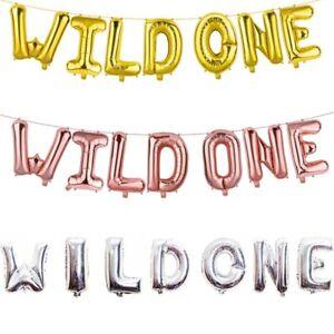 16-034-Gold-WILD-ONE-Foil-Balloon-Banner-Garland-1st-Birthday-Party-Decor-Well